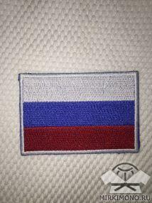 """Шеврон на кимоно """"Флаг России"""" белый"""