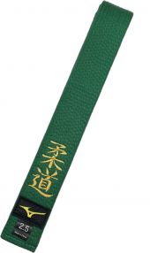 """Пояс """"Mizuno"""" зелёный c иероглифом Дзюдо"""